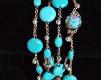 Crocheted Glass Turquoise and Silver Beaded Necklace