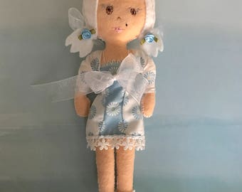 Lucy, a Dove Cottage Doll Design, handmade in Hawaii, original unique doll