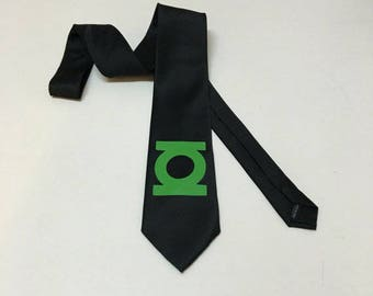 Green  Lantern Necktie on a black tie