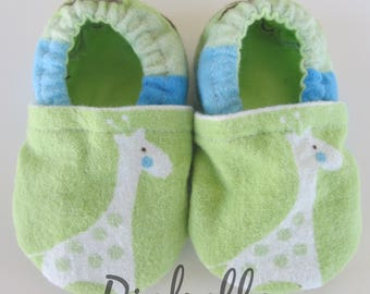 Green Giraffe Baby Shoes, Baby Shoes, Soft Sole Baby Boy Shoes, Baby Shower Gift