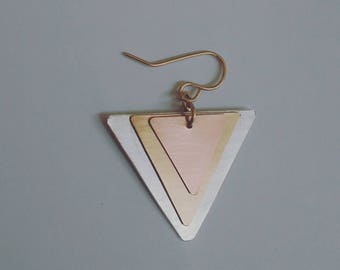 TRIangle Brushed Pendant Earrings