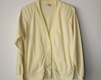 Lovely Vintage Pale Yellow Button Up Sweater // Small