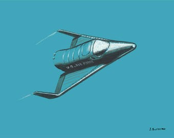 NASA X-20 DYNA SOAR Re-Entry Vehicle Space Shuttle Aerospace Flight Limited Edition Giclee Print 11 x 14