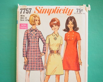 Simplicity 7757 vintage retro  1960's mini shift A-line shirt summer dress sewing pattern Size 10 bust 32 inches