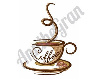 Coffee Cup Embroidery - Machine Embroidery Design