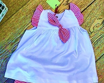 white jersey dress with Fuchsia and white gingham vicky