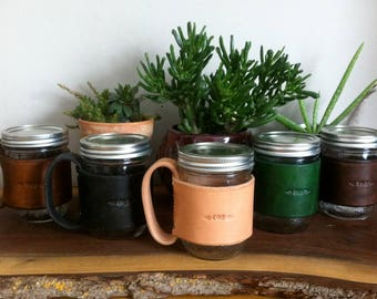 Custom Stamped and Dyed Leather Mug