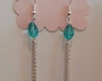 Aqua Bead & Chain Dangle Earrings