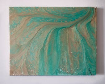 "Abstract Fluid Canvas Painting 11x14 ""BeachSide"""