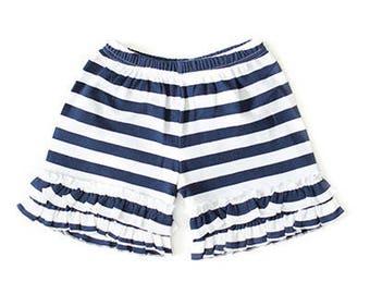 Navy & White Striped Shorts