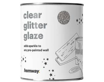 Hemway 1L Clear Glitter Paint Glaze for Pre-Painted Walls  - Silver