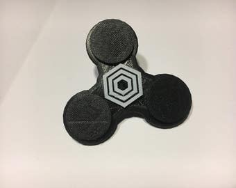 EDC Simply Spinning Tri-spinner, Fidget spinner, 3d printed BLACK