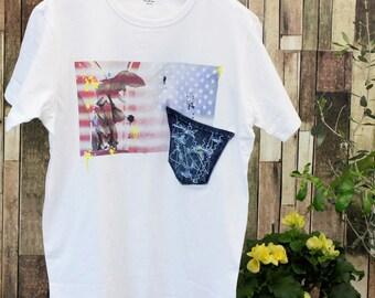Americanflag printed tee with damage denim pocket [works]
