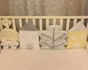 Baby bumper and bedding, Crib bumper, Yellow bumper, Gray bumper, Cat Cloud House Tree, Cutest bumper, Bumper with theme,Personalizes bumper