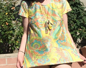60s Psychedelic Paisley Blouse