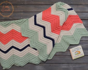 Coral, Cream, Mint, and Navy Blue Chevron Crocheted Baby Blanket