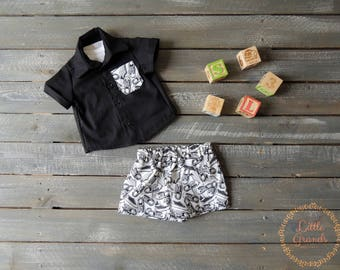 3-6 Month Boys Black Button Up Shirt and Shorts Set