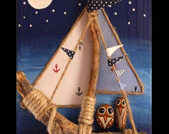 Child table. Boat and owls