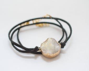 White Druzy Black Suede Wrap Bracelet