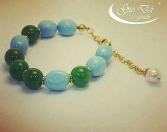 Hand-crafted in sterling silver bracelet with turquoise, jade and Freshwater Pearl