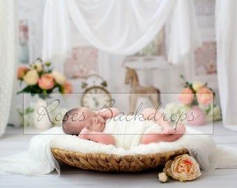 Digital background - reborn - nest - vintage style