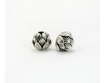 2 Beads Oxidized 925 Sterling Silver 7.5mm Lotus Seed Charms F247