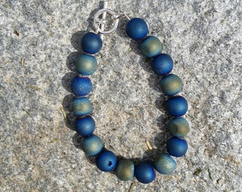 Blue druzy agate 10mm bracelet