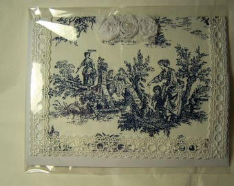 Handmade greeting card. Toile fabric greeting card with tag