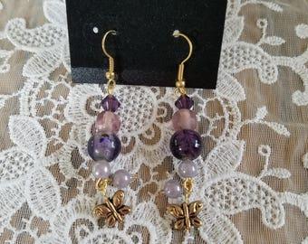 Purple Butterly Earrings