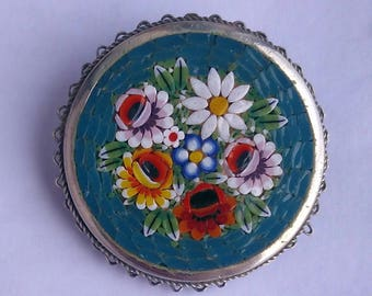 "Old mosaic Brooch made in Italy ""Alpacca"""