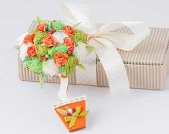 orange magnet, fridge magnet, chic gift magnet, flower refrigerator magnet, handmade magnets FM32