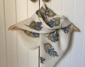Cotton Scarf, Hand Painted Scarf, Eco Friendly Fabric, Feather Pattern,Hand Made Scarf, Multi Color Scarf,Gift for Her