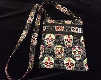 Cross Body Bag - Orange Sugar Skulls