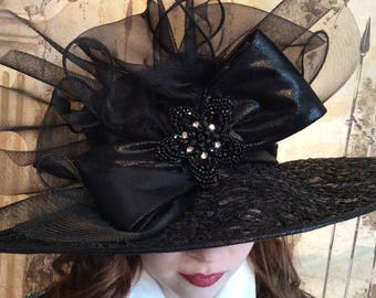 Lace Covered Black Hat