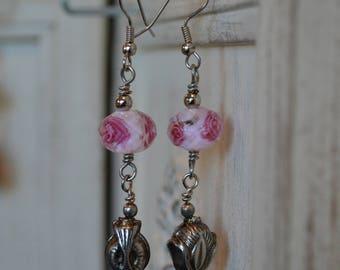 Long Pink Earrings, Long Earrings, Dangle Earrings, Pink Earrings, Pink Dangle Earrings, Pink Jewelry, Pink Lamp Work Dangle Earrings