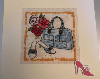Hand Made Quilted Card Birthday Thank You Thinking Of Shoes Vintage Fashion Bags