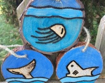 Wood Burned Sea Life Ornaments