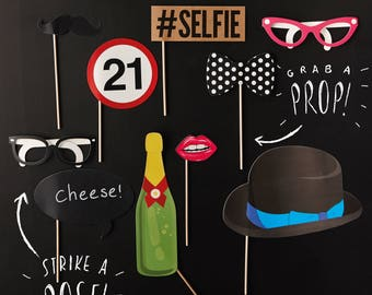 21st Birthday Photo Booth Props, Photo Booth Props