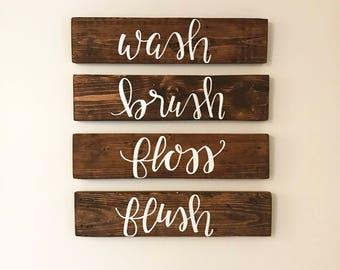 Bathroom Signs Wooden bathroom signs   etsy