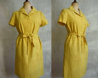 1960s Sunshine Yellow Shirtwaist Dress / Vintage Summer Dress / Checked Dress