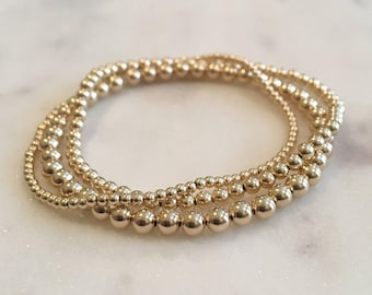 Three 14K gold (2mm, 3mm, and 4mm) beaded bracelets - Offered in 14K gold filled, rose gold filled, or sterling silver