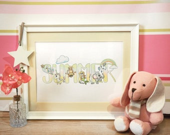 Personalised Child's Name Print // illustration // watercolour //baby gift // birthday // christening