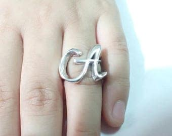 Sterling Silver Initial Rings for Little Girls