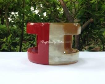 Buffalo HORN carved CUFF Bangle Bracelet Burgundy Red. Dia 2.55'' [TTC036]