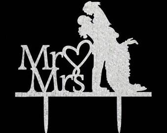 Mr & Mrs Cake Topper, Wedding Cake Topper, Mr and Mrs  Cake Topper, Calligraphy cake topper