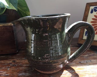 Small Vintage Green Ceramic Pitcher, Green Ceramic Creamer, Milk Pitcher