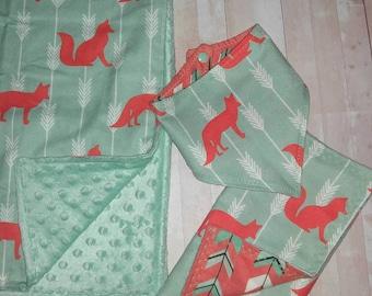 Minky blanket set - Woodland- Fox, Arrow, and nature - Baby blanket, bib, and burp cloth
