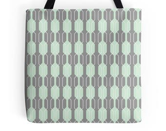 Grey tote Bag, Geometric tote bag, market shopper, mint tote bag, geometric print, shopping bag, tote shopper, market bag, geometric Bag