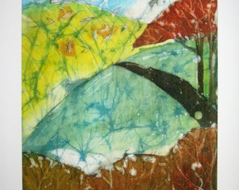 Landscape with trees - High quality signed print from an original batik, 30 cm x 40 cm