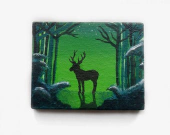 Deer in a forest - Acrylpainting on canvas